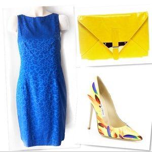 HELENE BERMAN LONDON BLUE LEOPARD SHEATH DRESS 8